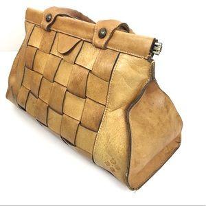 Patricia Nash Cognac Tan Leather Woven Tote Bag